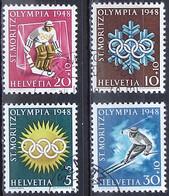 Schweiz Suisse 1948: Winter-Olympiade D'hiver Zu WIII 25-28 Mi 492-495 Yv 449-452 Mit Sonder-o ST.MORITZ (Zu CHF 17.00) - Inverno1948: St-Moritz