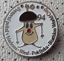 Mushroom Mushrooms  Funghi, Champignons Biathlon World Cup Pokljuka 1994 Slovenia  Pin Diameter 32mm - Alimentazione