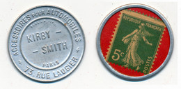 TIMBRES-MONNAIE // PARIS // KIRBY-SMITH // 5 Centimes Vert Sur Fond Rouge - Other