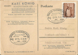 "20 122 Postkarte Bahnpost ""BERLIN-SASSNITZ(HAFEN)"" 1956 - Covers & Documents"