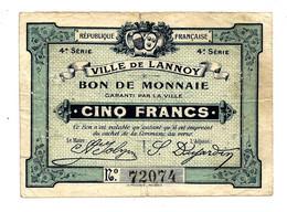 1914-1918 // VILLE DE LANNOY (Nord 59) // Bon De 5 Francs - Bonos