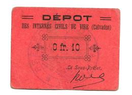 1914- 1918 // P.O.W. // Bon De Prisonnier De Guerre // VIRE (Calvados) // 10 Centimes - Bonds & Basic Needs