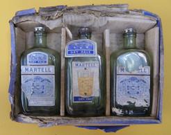 COGNAC MARTELL : Trois Fiasques En Verre, Avec Capsule Et Bouchon Métal Spécial ! - Spirits
