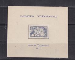 SAINT PIERRE ET MIQUELON BLOC FEUILLET 1 EXPO 1937 LUXE NEUF SANS CHARNIERE MNH - Ungebraucht