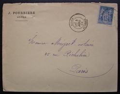 Alger 1884 Algérie J Pourrière , Enveloppe Pour Paris - 1877-1920: Semi Modern Period