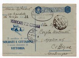 1942 WWII ITALY TO CETINJE,ITALIAN OCCUPATION OF MONTENEGRO,POW CAMP 268 HOSPITAL,MILITARY CENSOR,STATIONARY CARD,USED - Interi Postali