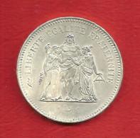 50 Francs ARGENT 900% , HERCULE , 1976 , N° Franc 427-4 Ou Gadoury 882 , Etat: SUP , Voir Scans - M. 50 Francs