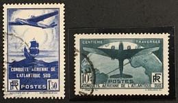 YT 320 - 321 10f Vert Et 1f50 Obl (°) 1936, 100ème Traversée Aérienne Atlantique Sud (côte 155,5) France – Kr4lot - Used Stamps