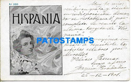 168390 SPAIN ESPAÑA HISPANIA ART FACE WOMAN CIRCULATED TO BARCELONA POSTAL POSTCARD - Non Classificati