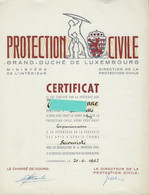 Luxembourg - Luxemburg - CERTIFICCAT  -  PROTECTION CIVILE , LUXEMBG - Diplome Und Schulzeugnisse