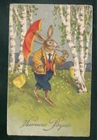 CP - Fant. - Lapin Avec Un Parapluie - Heureuse Pâques - Pascua