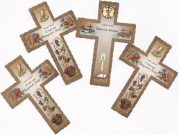Lot  De 4 Souvenirs De Confirmation - En Forme De Croix  - 19/05/1985 - - Imágenes Religiosas