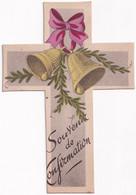 Souvenir De Confirmation - En Forme De Croix  - 10/04/1949 - Décor Cloches - Imágenes Religiosas