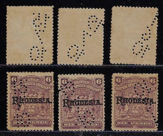 British South Africa Company 1910 3 Stamp With Perfindates With Day Month Year Overprint Rhodesia Revenue Usage - Otros