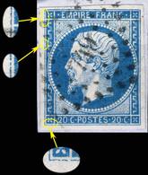 France - Yv.14A 20c Empire T.1 Planché Pos. 009D4 - Obl. Pc 749 (CHARLEVILLE) - TB Sur Fragment - 1853-1860 Napoléon III