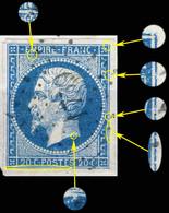 France - Yv.14A 20c Empire T.1 Planché Pos. 027G2 - Obl. Pc 1759 (LONS-LE-SAUNIER) - TB Sur Fragment - 1853-1860 Napoléon III