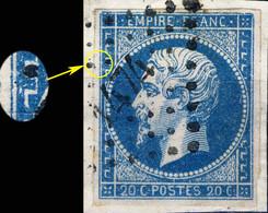 France - Yv.14A 20c Empire T.1 Planché Pos.076D1 - Obl. Pc 1474 (GUINGAMP) - TB Sur Fragment - 1853-1860 Napoléon III
