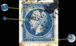 France - Yv.14A 20c Empire T.1 Planché Pos. 077G3 (1er état) - Obl. B/TB Sur Fragment - 1853-1860 Napoléon III