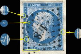 France - Yv.14A 20c Empire T.1 Planché Pos. 046G1 (4è état) - Obl. Pc 168 (AUCH) - B/TB - 1853-1860 Napoléon III