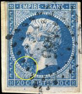 France - Yv.14A 20c Empire T.1 Planché Pos. 129G2 - Obl. Pc 486 (BOURGOIN) - TB - 1853-1860 Napoléon III