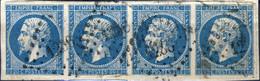 France - Bande De 4xYv.14A 20c Empire T.1 - Non Planchés - Obl. Pc 1236 (FALAISE) - Petits Défauts - 1853-1860 Napoleon III