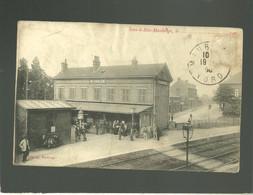 59 Sous Le Bois Maubeuge édit. Delgorge  La Gare Chemin De Fer Animée - Maubeuge
