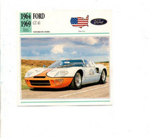 VOITURES - FICHES ILLUSTREES - FORD GT40 - Coches