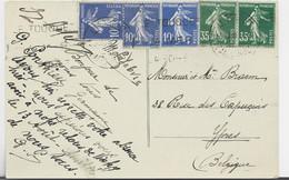 FRANCE SEMEUSE 10C BLEUX3+35CX2 CARTE LE TOUQUET 25.VII.1938 POUR BELGIQUE AU TARIF - 1906-38 Sower - Cameo