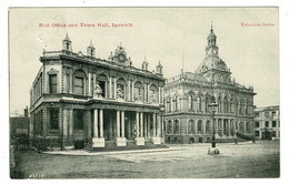 Ref 1496 - 1904 Postcard - Post Office & Town Hall - Ipswich Suffolk - Diss Norffolk Squared Circle Postmark - Ipswich