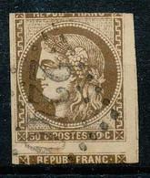 NB - [100072]TB//O/Used-N° 47, 30c Brun, Découpage à Cheval (timbre Plus Qu'entier Décalé), Obl Losange Gros Chiffre '22 - 1870 Bordeaux Printing