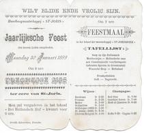 """Temse ( Menu 1899 Handboogmaatschappij """"st-joris) - Menus"""