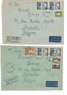 LE 1554. 2 Lettres RECOMMANDEES-AVION De GROJEC 1947 Vers Bruxelless - Airplanes