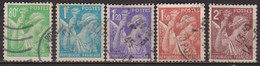 Type Iris - FRANCE - Déesse Au Flambeau - N° 649-650-651-652-653 - 1944 - Oblitérés