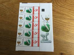 Belgique : Bande De 5 Timbres Personnalisés : Bière Et Oiseau - Timbres Personnalisés
