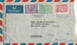 Arabie Saoudite  Affranchissement Composé Sur  Lettre Recommandée De ALHASSA 1952 Pour New York USA - Arabia Saudita