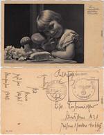 Neujahr Sylvester: Mädchen Mit Pilzen Und Glücksschwein Ansichtskarte  1940 - Neujahr