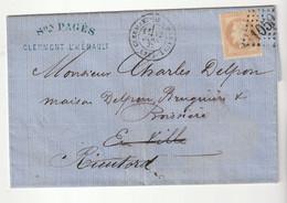 Lettre Avec Classiques De France: Napoléon N° 28, G.C. 1050 Clermont De L'Hérault- Rieutord, 1871 - 1863-1870 Napoléon III. Laure