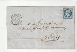 """Lettre Avec Classiques De France: Napoléon N° 14 Et Cachet """"Nantes- Boîte/ Amb.2, 1855"""" - 1853-1860 Napoléon III."""