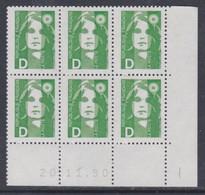 France N° 2711 XX Marianne De Briat : D Vert En Bloc De 6 Coin Daté Du 20 . 11 . 90 , Sans Charnière, TB - 1990-1999