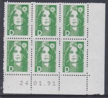 France N° 2711 XX Marianne De Briat : D Vert En Bloc De 6 Coin Daté Du 24 . 01 . 91 , Sans Charnière, TB - 1990-1999