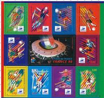 BF 19 (1998)  France 98  Feuillet Des 10 Timbres Avec Vignette Centrale - Souvenir Blokken