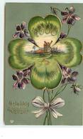 Carte Gaufrée - 1908 - Gelukkig Nieuwjaar - Paysage Dan Un Trèfles à 4 Feuilles - Moulin à Vent - Anno Nuovo