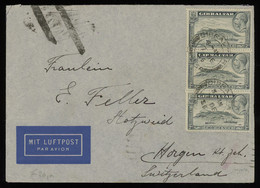 TREASURE HUNT [00305] Gibraltar 1936 Air Mail Cover Sent To Switzerland Franked With KGV 2d Grey Pictorial Strip Of 3 - Gibilterra