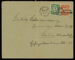 TREASURE HUNT [00323] Danzig 1932 Cover To Berlin Franked With 5 Pf Orange+10 Pf Green, Special Postmark - Dantzig
