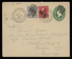 TREASURE HUNT [00331] US 1890 Washington 2c Postal Envelope Sent From North Cambridge, MA To Berlin, Up-rated 1c+2c - Brieven En Documenten