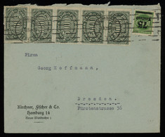 TREASURE HUNT [00351] Germany 1923 Infla Cover From Hamburg With 5000 M Strip Of 4+single And 75 Tsd. On 1000 M Green - Infla