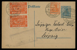 TREASURE HUNT [00359] Germany 1921 Air Mail Germania 30 Pf Post Card From Westerland Up-rated With 10 Pf Air Mail Pair - Posta Aerea