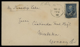 TREASURE HUNT [00381] US 1889 Cover To Wiesbaden, Germany Bearing James C. Garfield 5c Blue Single Franking - Brieven En Documenten