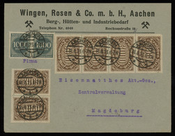 TREASURE HUNT [00386] Germany 1923 Infla Cover From Aachen To Magdeburg With 1000 M Pair+3000 M Strip Of 4+pair - Infla