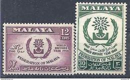 1960 MALAISIE MALAYA 94-95** Année Du  Réfugié - Federation Of Malaya